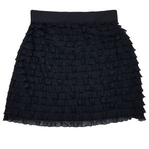 Forenza Ruffled Mini Skirt Black Bodycon XS